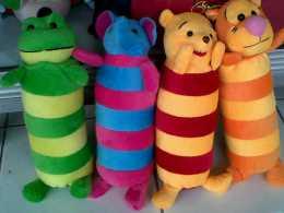 boneka guling frog, gajah, pooh, tiger