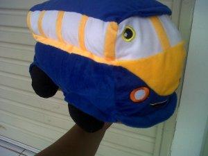 boneka mobil bus biru