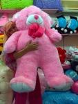 boneka beruang besar pink muda